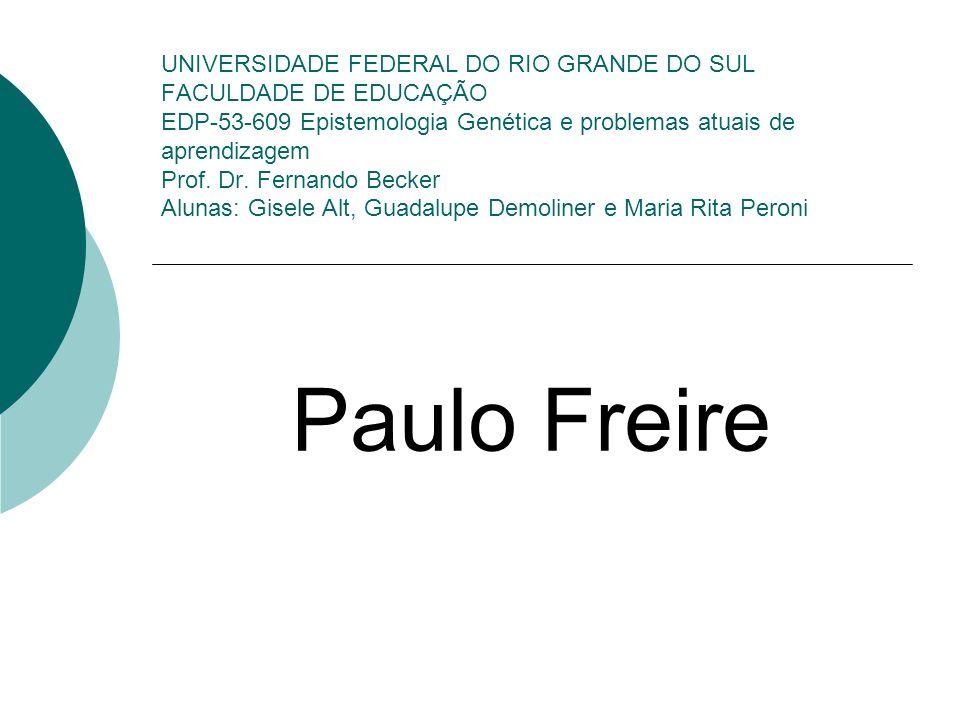 Freire (1921-1997) e Piaget (1886-1980) em relação Um ensaio interdisciplinar Piaget explica como se dá a estrutura cognitiva ou a razão no ser humano; Freire diz como devem ser os processos formadores da subjetividade; Ambos defendem que se parta do sujeito (estruturas para Piaget e saber/cultura para Freire), ou seja, para propor qualquer atividade é necessário que o professor saiba reconhecer quais estruturas o sujeito possui; Freire fala sobre os níveis de consciência pelos quais o homem transita (semi- transitiva, ingênuo-transitiva e transitivo-crítica) e Piaget busca compreender como o ser humano aprende ou como ele passa de um menor para um maior conhecimento.