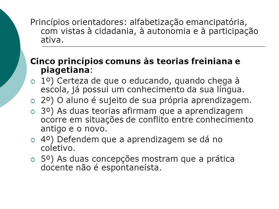 Princípios orientadores: alfabetização emancipatória, com vistas à cidadania, à autonomia e à participação ativa. Cinco princípios comuns às teorias f