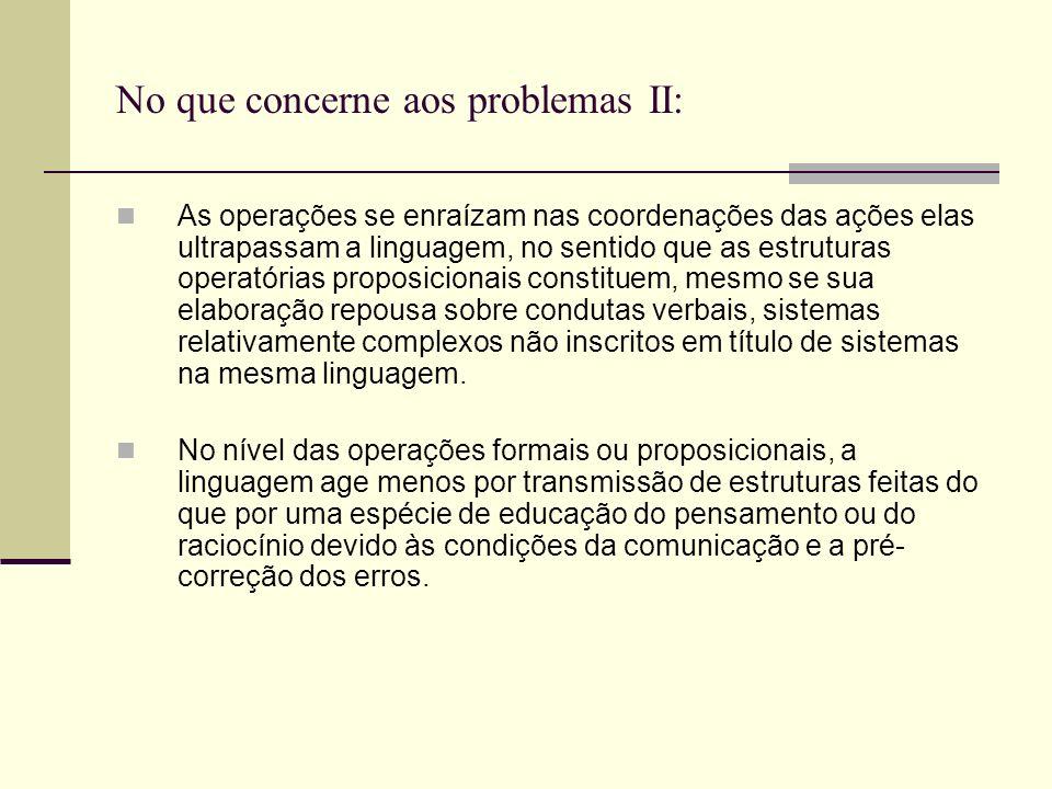 No que concerne aos problemas I: A formação do pensamento como representação conceitual é correlativa da aquisição da linguagem, sendo os dois parte d