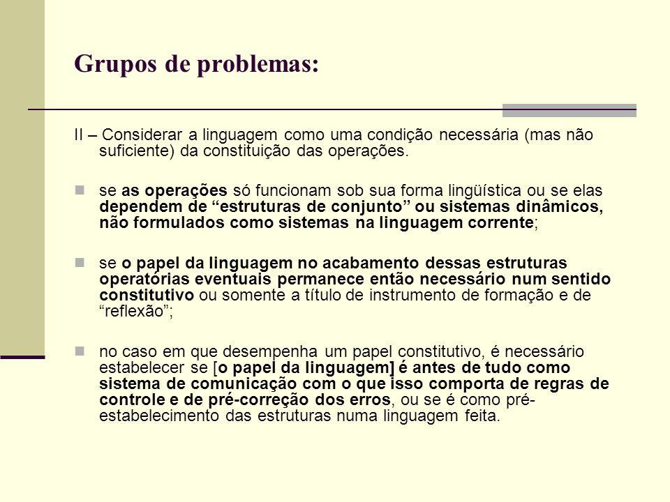 Grupos de problemas: I – A linguagem pode constituir uma condição necessária do acabamento das operações lógico-matemáticas sem ser, entretanto uma co