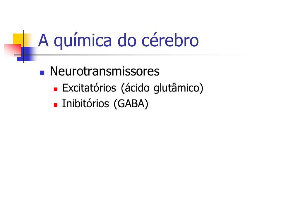 A química do cérebro Neurotransmissores Excitatórios (ácido glutâmico) Inibitórios (GABA)