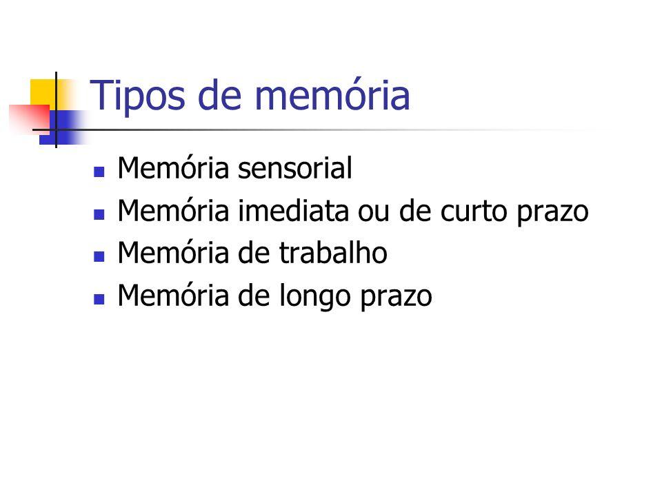 Tipos de memória Memória sensorial Memória imediata ou de curto prazo Memória de trabalho Memória de longo prazo