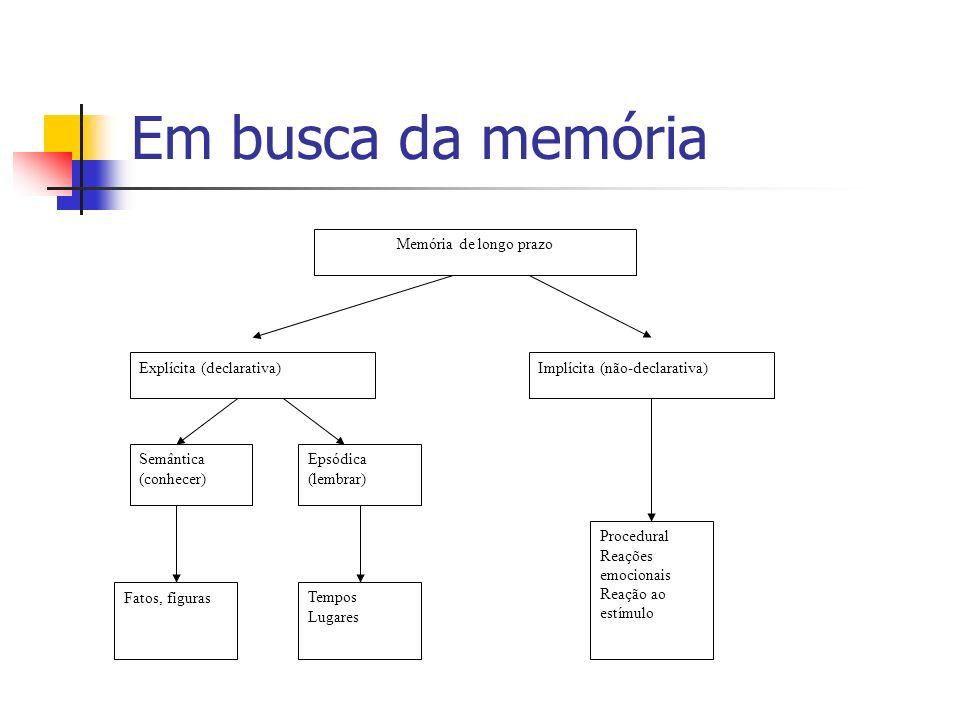 Em busca da memória Memória de longo prazo Explícita (declarativa)Implícita (não-declarativa) Semântica (conhecer) Epsódica (lembrar) Fatos, figurasTe