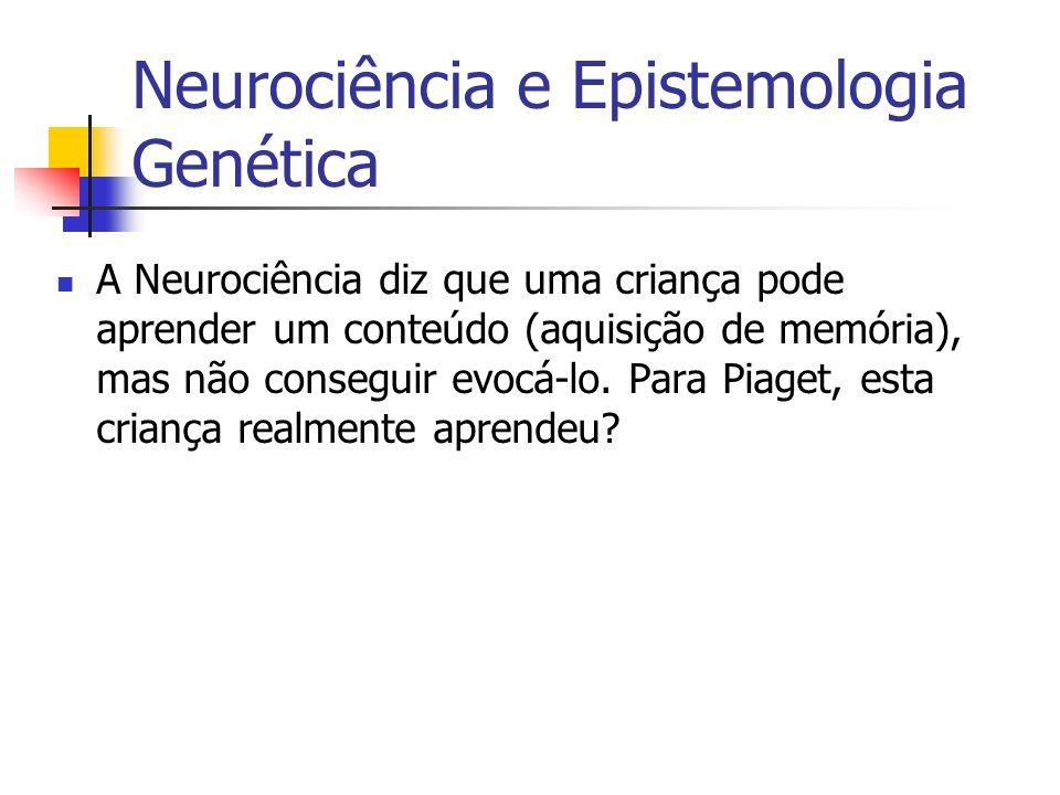 A Neurociência diz que uma criança pode aprender um conteúdo (aquisição de memória), mas não conseguir evocá-lo. Para Piaget, esta criança realmente a