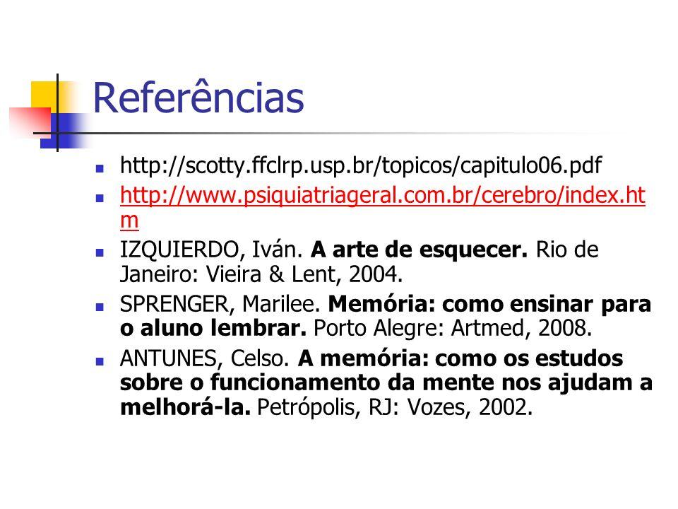 Referências http://scotty.ffclrp.usp.br/topicos/capitulo06.pdf http://www.psiquiatriageral.com.br/cerebro/index.ht m http://www.psiquiatriageral.com.b
