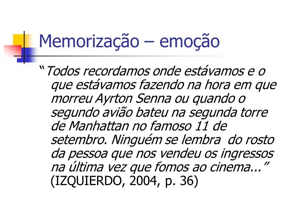 Memorização – emoção Todos recordamos onde estávamos e o que estávamos fazendo na hora em que morreu Ayrton Senna ou quando o segundo avião bateu na s