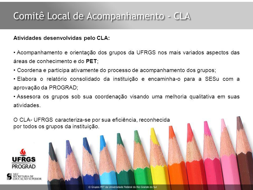 Atividades desenvolvidas pelo CLA: Acompanhamento e orientação dos grupos da UFRGS nos mais variados aspectos das áreas de conhecimento e do PET; Coor