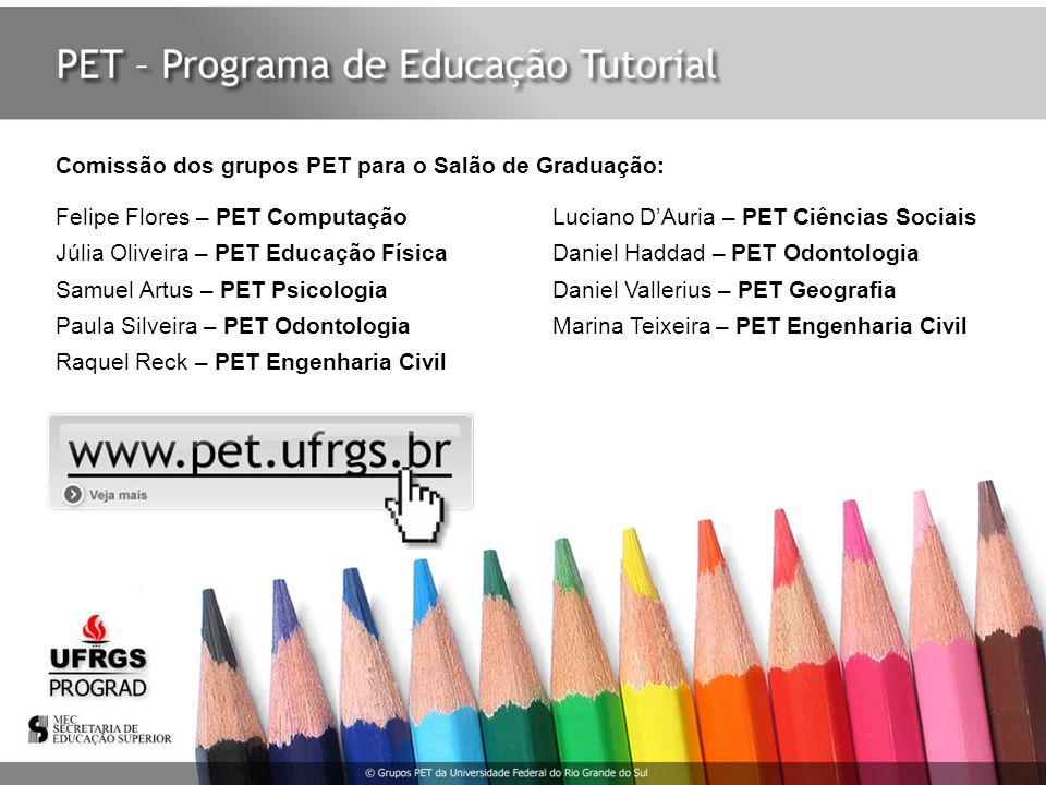 Comissão dos grupos PET para o Salão de Graduação: Felipe Flores – PET Computação Luciano DAuria – PET Ciências Sociais Júlia Oliveira – PET Educação