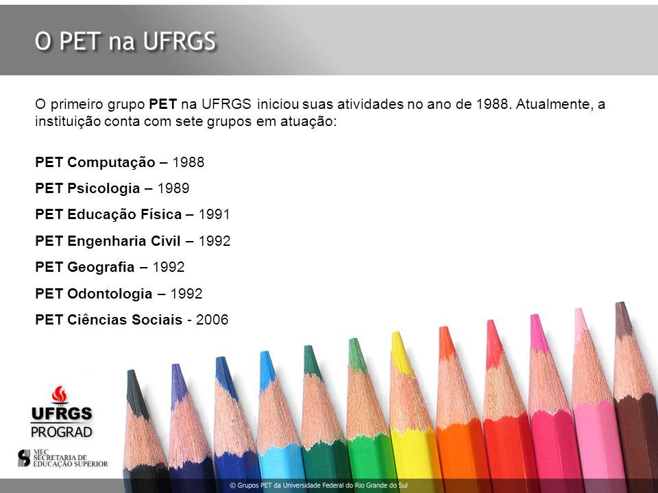 O primeiro grupo PET na UFRGS iniciou suas atividades no ano de 1988. Atualmente, a instituição conta com sete grupos em atuação: PET Computação – 198