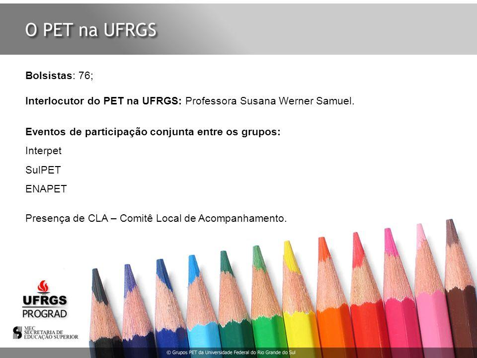 Bolsistas: 76; Interlocutor do PET na UFRGS: Professora Susana Werner Samuel. Eventos de participação conjunta entre os grupos: Interpet SulPET ENAPET