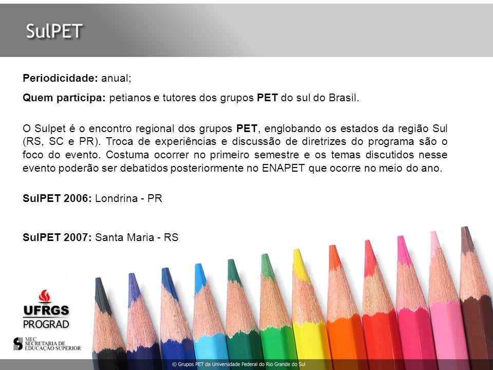 Periodicidade: anual; Quem participa: petianos e tutores dos grupos PET do sul do Brasil. O Sulpet é o encontro regional dos grupos PET, englobando os