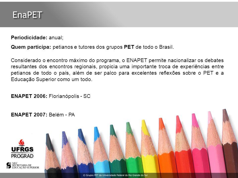 Periodicidade: anual; Quem participa: petianos e tutores dos grupos PET de todo o Brasil. Considerado o encontro máximo do programa, o ENAPET permite