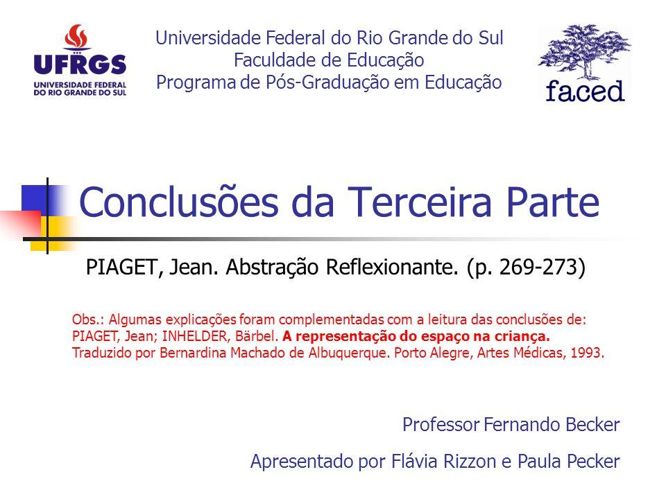 Conclusões da Terceira Parte PIAGET, Jean. Abstração Reflexionante. (p. 269-273) Apresentado por Flávia Rizzon e Paula Pecker Professor Fernando Becke