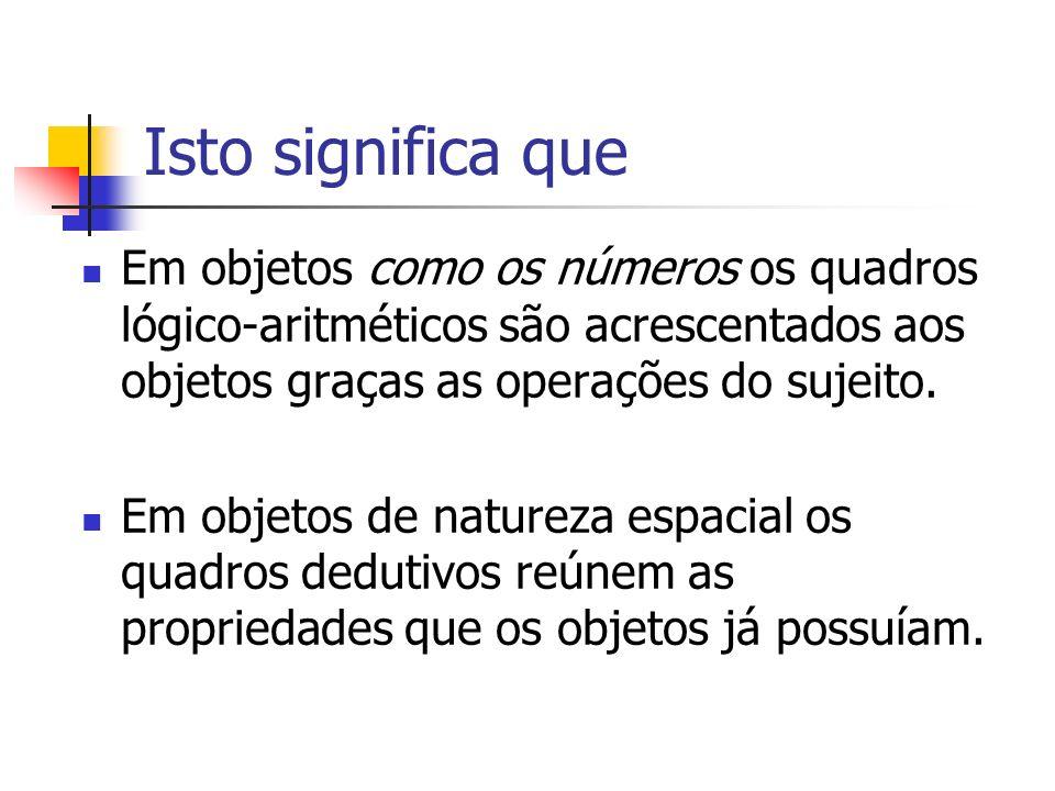 Isto significa que Em objetos como os números os quadros lógico-aritméticos são acrescentados aos objetos graças as operações do sujeito. Em objetos d
