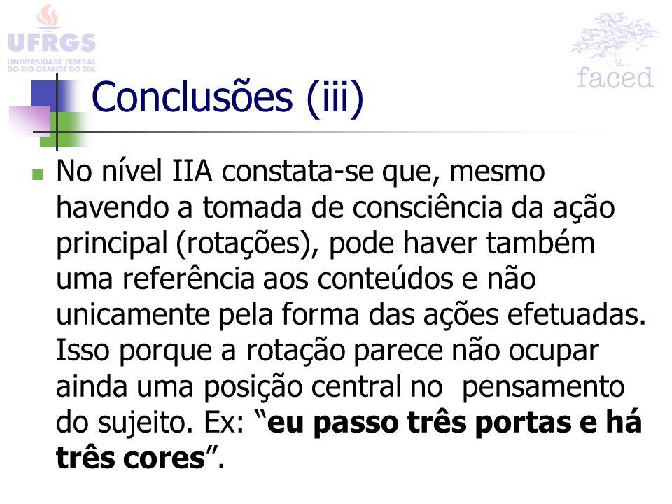Conclusões (iii) No nível IIA constata-se que, mesmo havendo a tomada de consciência da ação principal (rotações), pode haver também uma referência ao