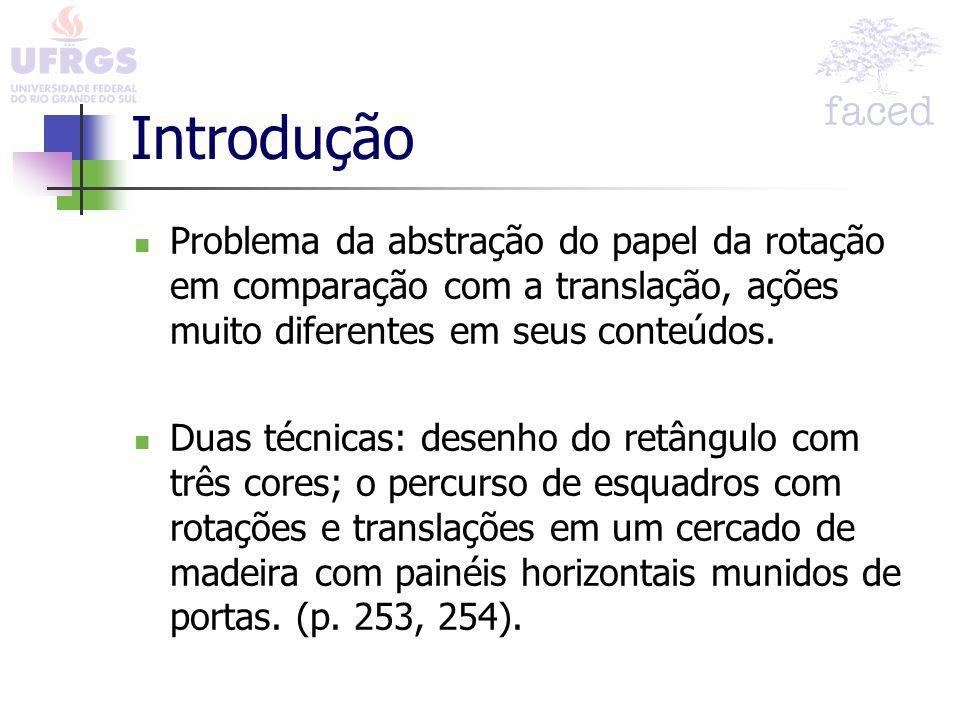 Introdução Problema da abstração do papel da rotação em comparação com a translação, ações muito diferentes em seus conteúdos. Duas técnicas: desenho