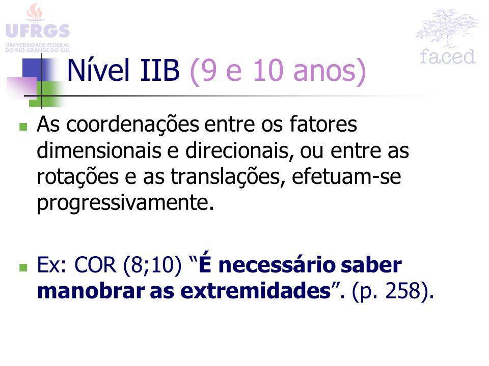 Nível IIB (9 e 10 anos) As coordenações entre os fatores dimensionais e direcionais, ou entre as rotações e as translações, efetuam-se progressivament