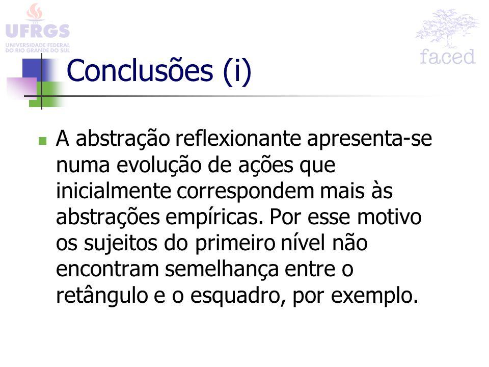 Conclusões (i) A abstração reflexionante apresenta-se numa evolução de ações que inicialmente correspondem mais às abstrações empíricas. Por esse moti