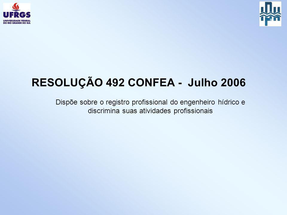 Dispõe sobre o registro profissional do engenheiro hídrico e discrimina suas atividades profissionais RESOLUÇÃO 492 CONFEA - Julho 2006