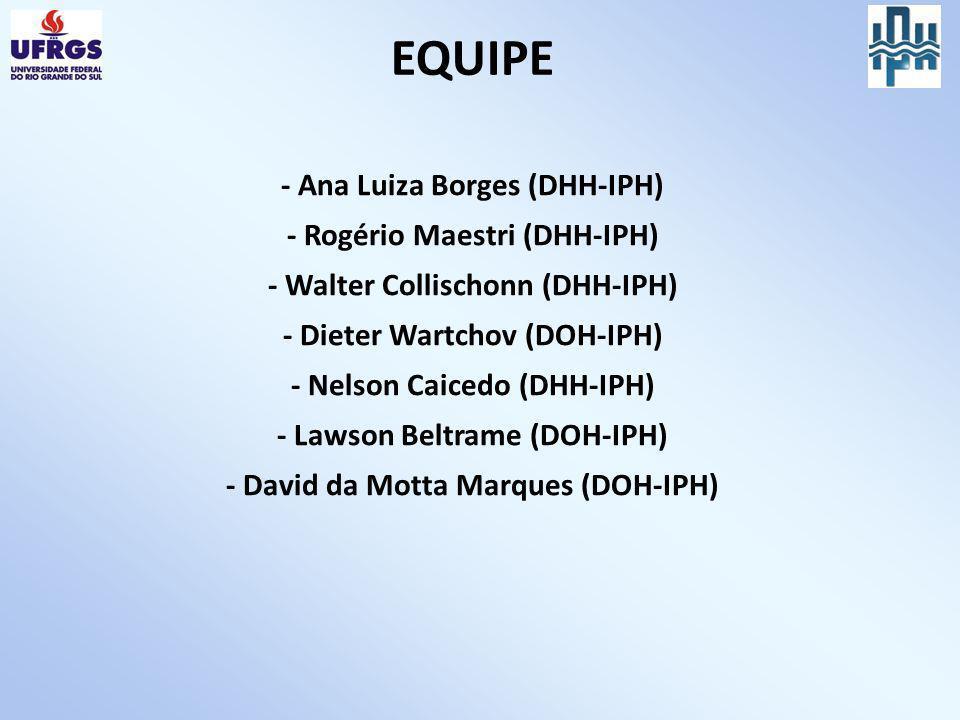 EQUIPE - Ana Luiza Borges (DHH-IPH) - Rogério Maestri (DHH-IPH) - Walter Collischonn (DHH-IPH) - Dieter Wartchov (DOH-IPH) - Nelson Caicedo (DHH-IPH) - Lawson Beltrame (DOH-IPH) - David da Motta Marques (DOH-IPH)