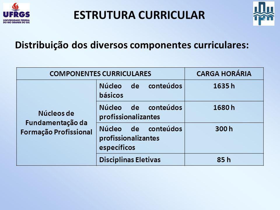 Distribuição dos diversos componentes curriculares: COMPONENTES CURRICULARESCARGA HORÁRIA Núcleos de Fundamentação da Formação Profissional Núcleo de