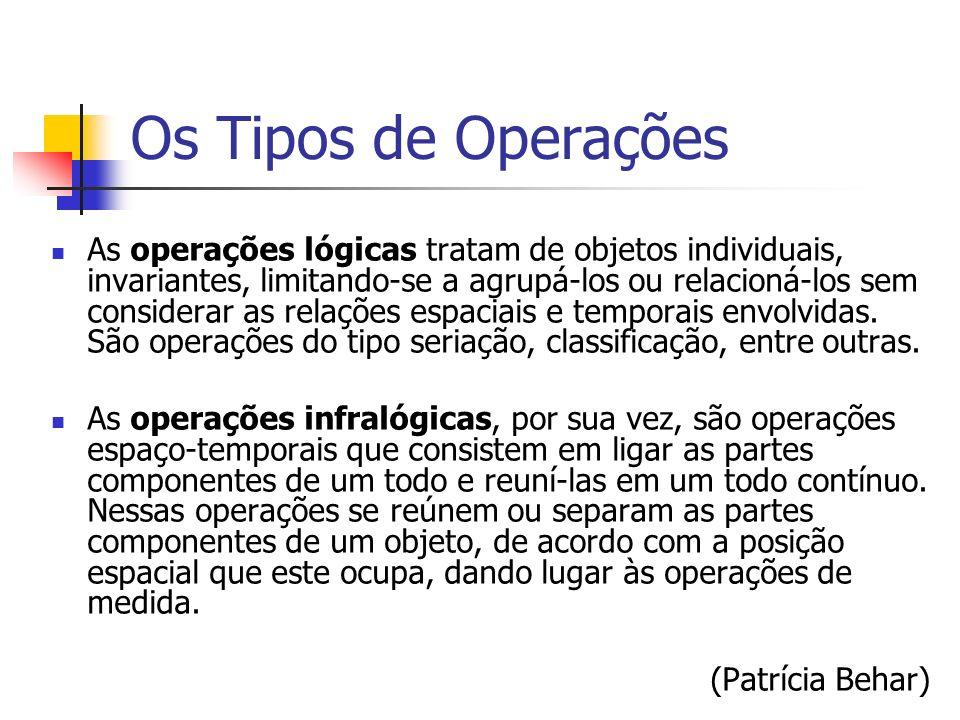 Os Tipos de Operações As operações lógicas tratam de objetos individuais, invariantes, limitando-se a agrupá-los ou relacioná-los sem considerar as re