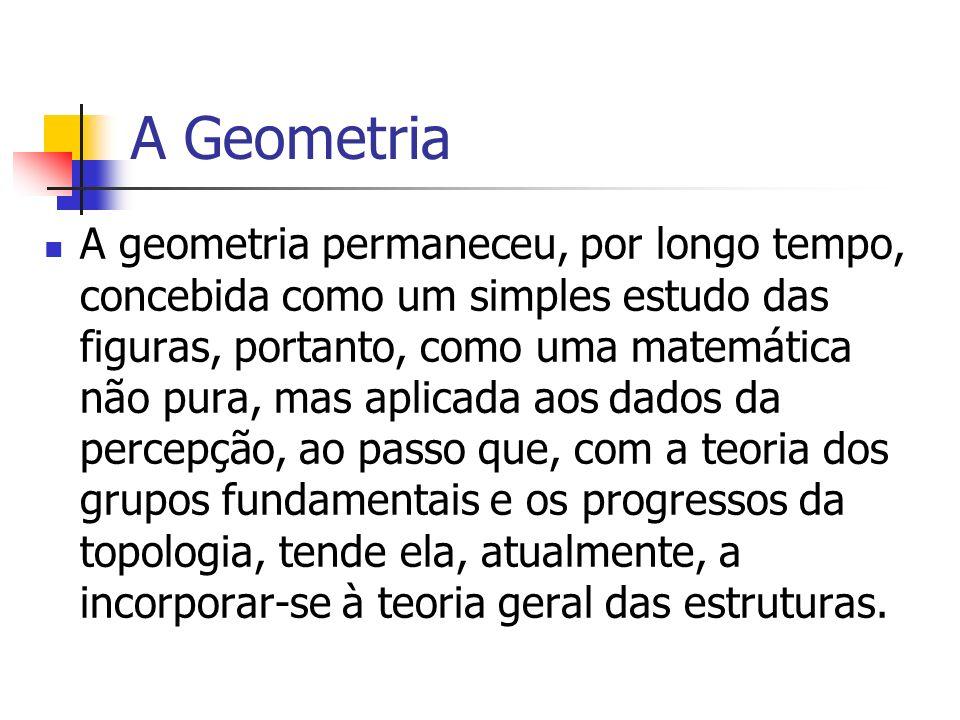 A Geometria A geometria permaneceu, por longo tempo, concebida como um simples estudo das figuras, portanto, como uma matemática não pura, mas aplicad