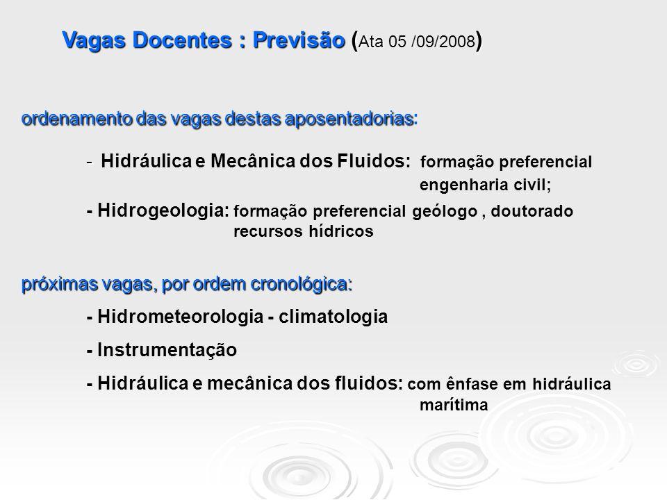 Vagas Docentes : Previsão ( Ata ) Vagas Docentes : Previsão ( Ata 05 /09/2008 ) ordenamento das vagas destas aposentadorias ordenamento das vagas destas aposentadorias: - - Hidráulica e Mecânica dos Fluidos: formação preferencial engenharia civil; - Hidrogeologia: formação preferencial geólogo, doutorado recursos hídricos próximas vagas, por ordem cronológica: - Hidrometeorologia - climatologia - Instrumentação - Hidráulica e mecânica dos fluidos: com ênfase em hidráulica marítima