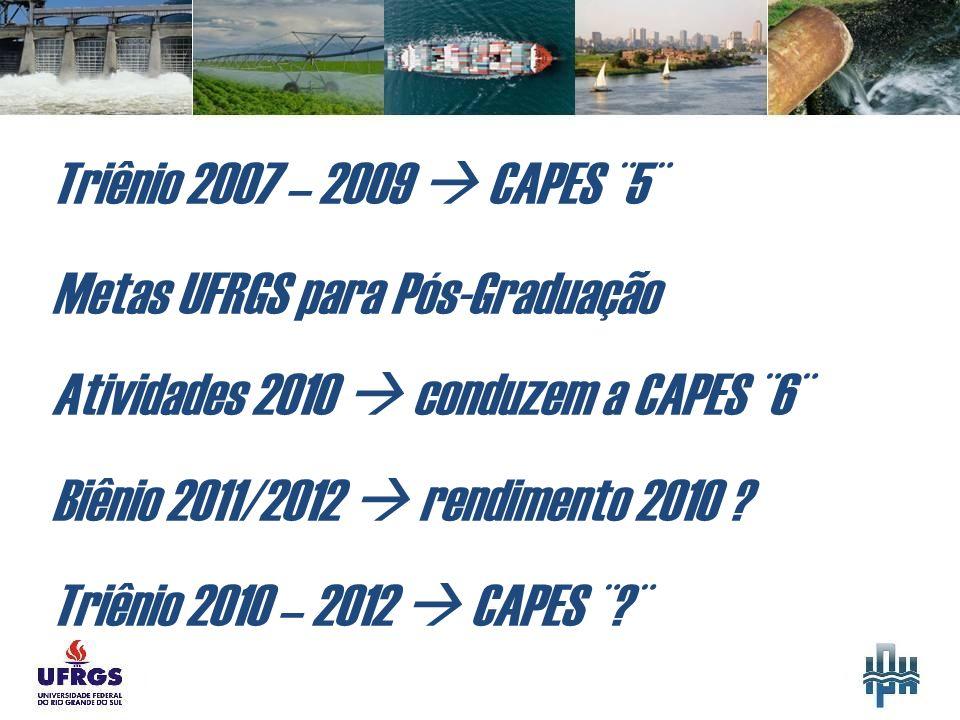 Triênio 2007 – 2009 CAPES ¨5¨ Metas UFRGS para Pós-Graduação Atividades 2010 conduzem a CAPES ¨6¨ Biênio 2011/2012 rendimento 2010 .