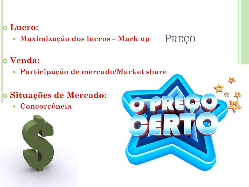 P REÇO Lucro: Maximização dos lucros – Mark up Venda: Participação de mercado/Market share Situações de Mercado: Concorrência