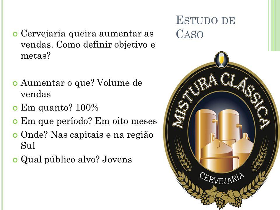 E STUDO DE C ASO Cervejaria queira aumentar as vendas. Como definir objetivo e metas? Aumentar o que? Volume de vendas Em quanto? 100% Em que período?