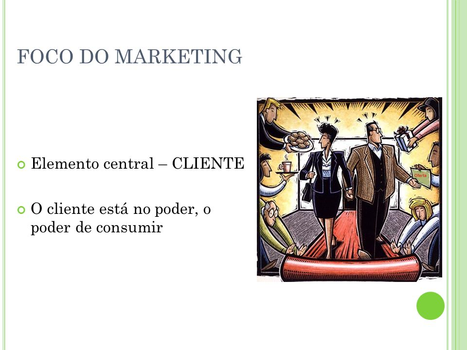 FOCO DO MARKETING Elemento central – CLIENTE O cliente está no poder, o poder de consumir