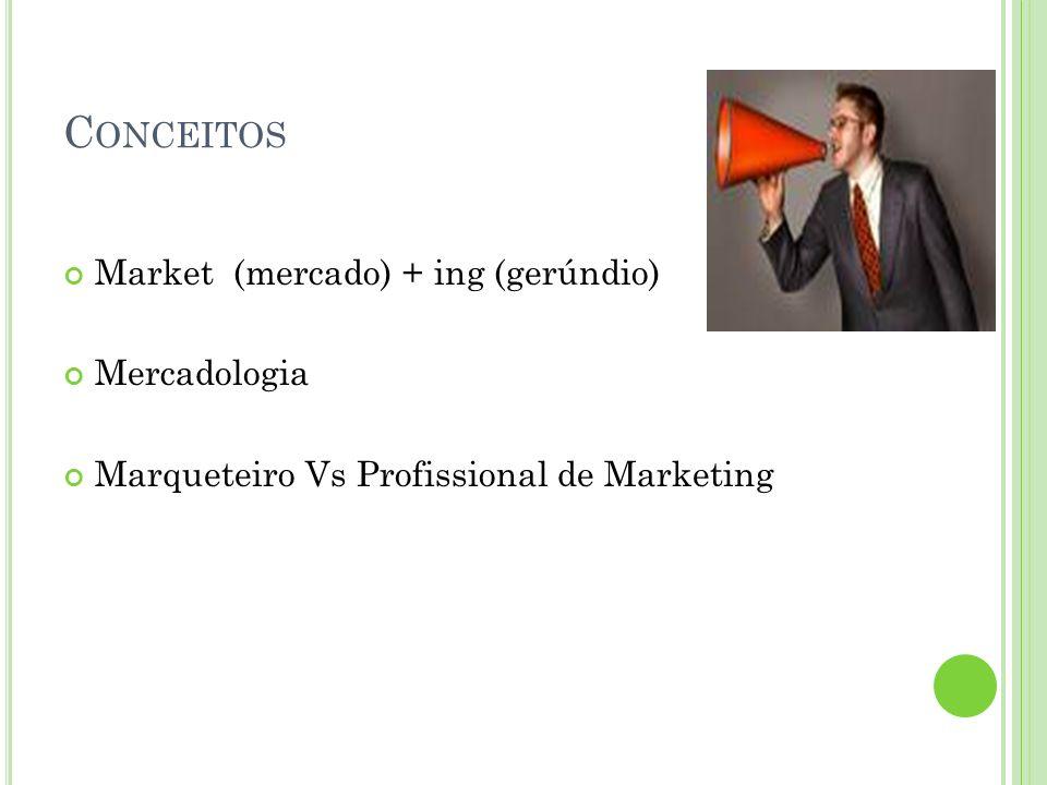 C ONCEITOS Market (mercado) + ing (gerúndio) Mercadologia Marqueteiro Vs Profissional de Marketing