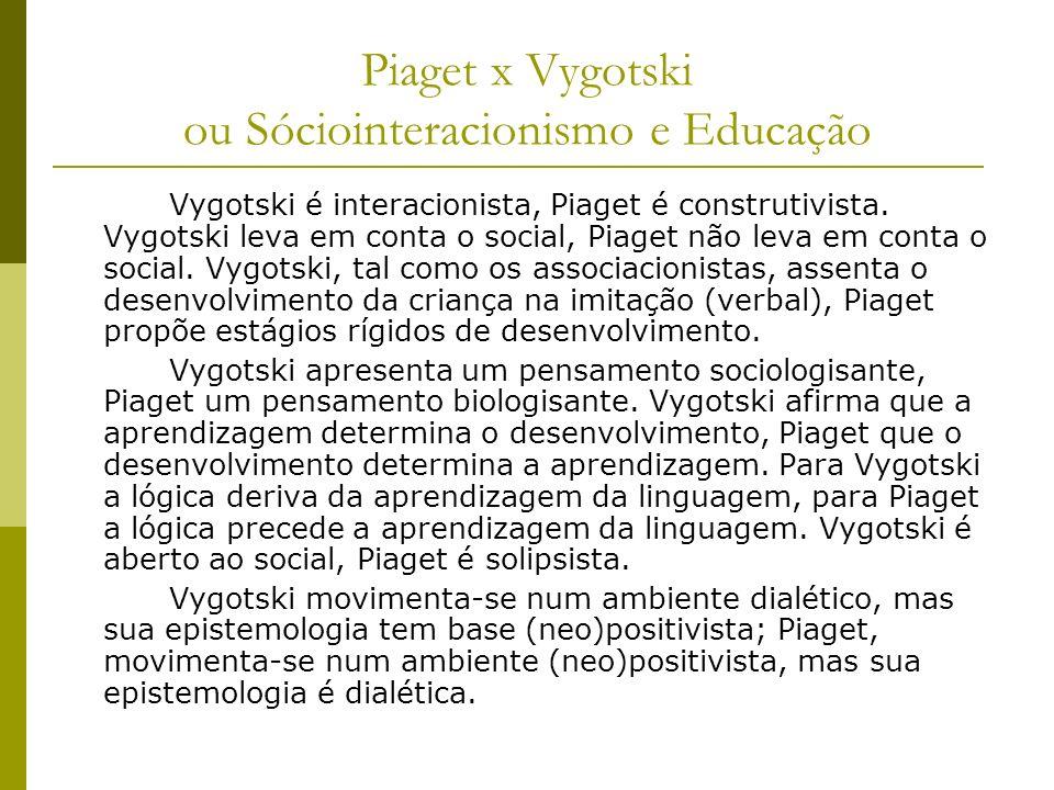 Piaget x Vygotski ou Sóciointeracionismo e Educação Vygotski é interacionista, Piaget é construtivista. Vygotski leva em conta o social, Piaget não le