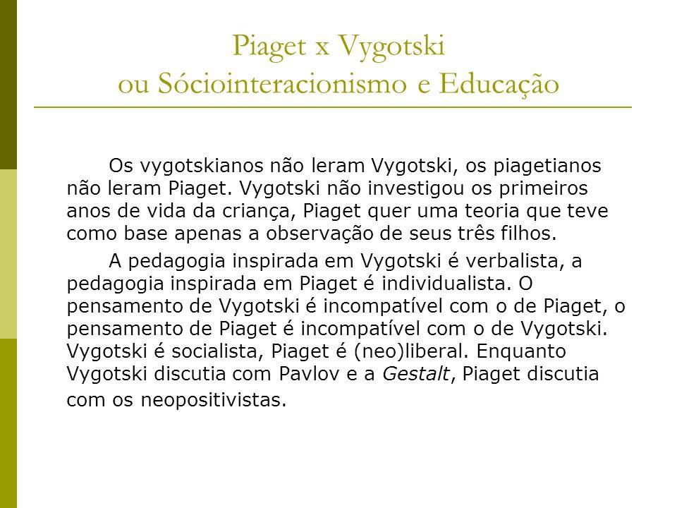 Piaget x Vygotski ou Sóciointeracionismo e Educação Os vygotskianos não leram Vygotski, os piagetianos não leram Piaget. Vygotski não investigou os pr