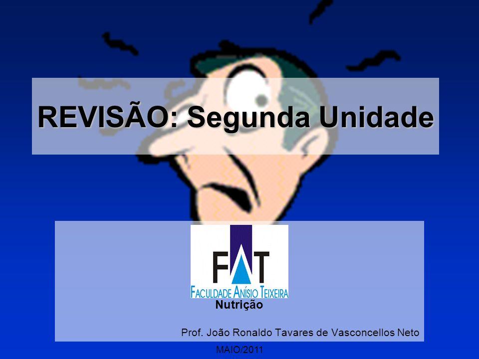 MAIO/2011 REVISÃO: Segunda Unidade Nutrição Prof. João Ronaldo Tavares de Vasconcellos Neto