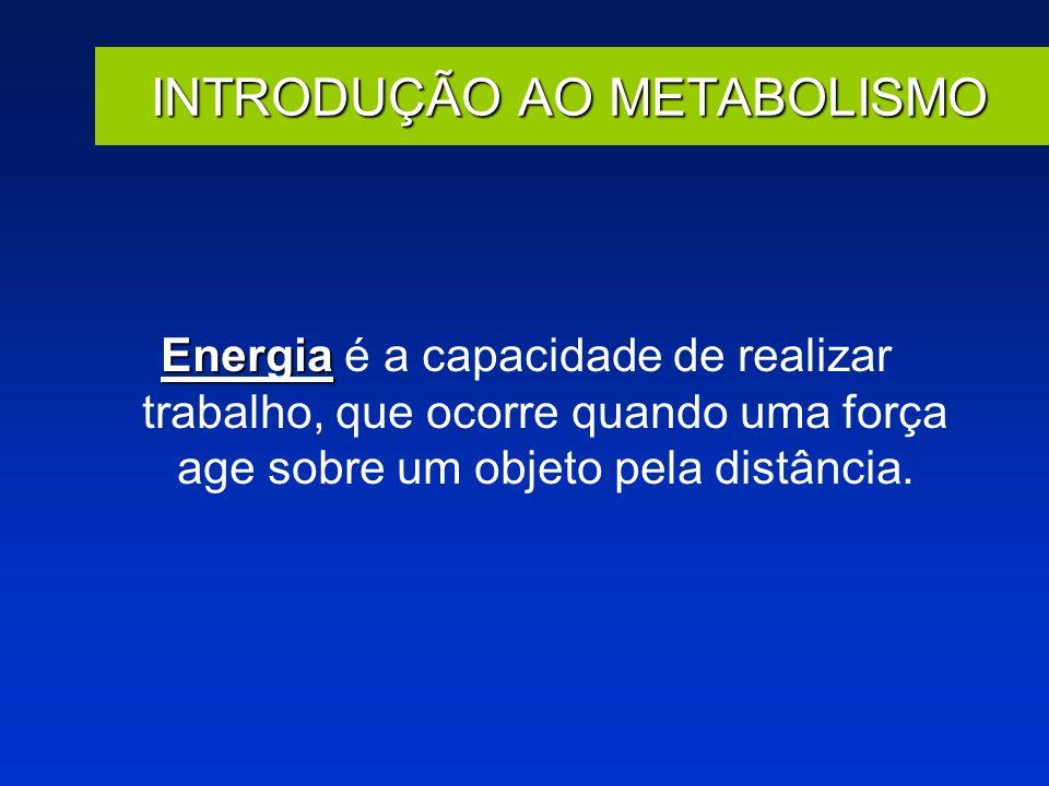 INTRODUÇÃO AO METABOLISMO Energia Energia é a capacidade de realizar trabalho, que ocorre quando uma força age sobre um objeto pela distância.
