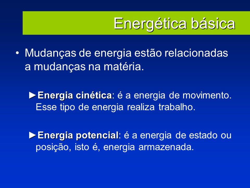 Energética básica Mudanças de energia estão relacionadas a mudanças na matéria. Energia cinéticaEnergia cinética: é a energia de movimento. Esse tipo
