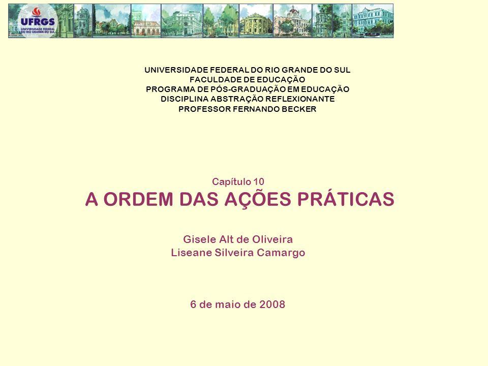UNIVERSIDADE FEDERAL DO RIO GRANDE DO SUL FACULDADE DE EDUCAÇÃO PROGRAMA DE PÓS-GRADUAÇÃO EM EDUCAÇÃO DISCIPLINA ABSTRAÇÃO REFLEXIONANTE PROFESSOR FERNANDO BECKER Capítulo 10 A ORDEM DAS AÇÕES PRÁTICAS Gisele Alt de Oliveira Liseane Silveira Camargo 6 de maio de 2008