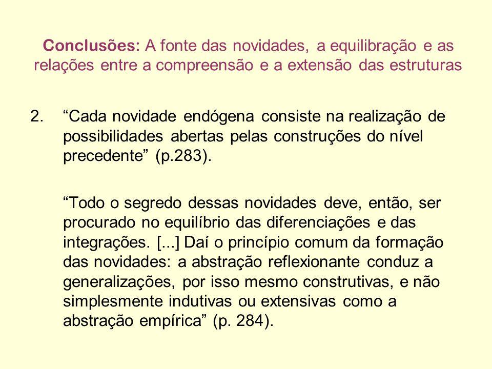 Conclusões: A fonte das novidades, a equilibração e as relações entre a compreensão e a extensão das estruturas 2.Cada novidade endógena consiste na realização de possibilidades abertas pelas construções do nível precedente (p.283).