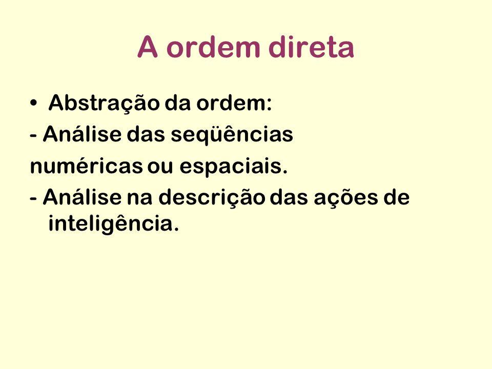 A ordem direta Abstração da ordem: - Análise das seqüências numéricas ou espaciais. - Análise na descrição das ações de inteligência.