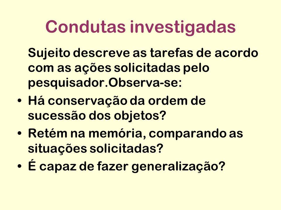 Condutas investigadas Sujeito descreve as tarefas de acordo com as ações solicitadas pelo pesquisador.Observa-se: Há conservação da ordem de sucessão dos objetos.