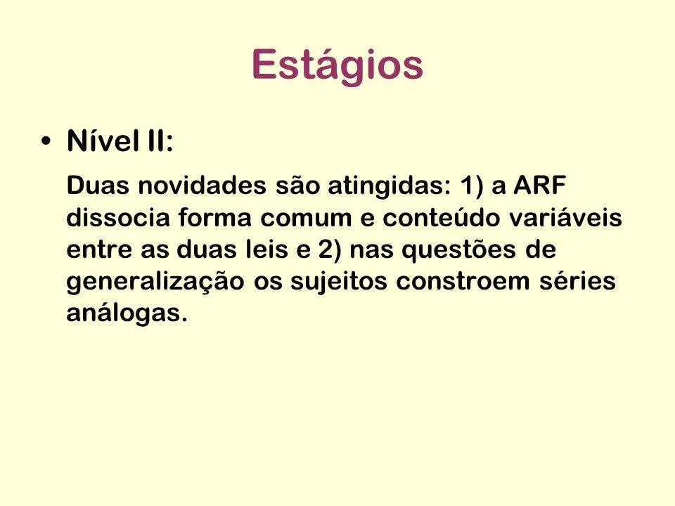 Estágios Nível II: Duas novidades são atingidas: 1) a ARF dissocia forma comum e conteúdo variáveis entre as duas leis e 2) nas questões de generaliza