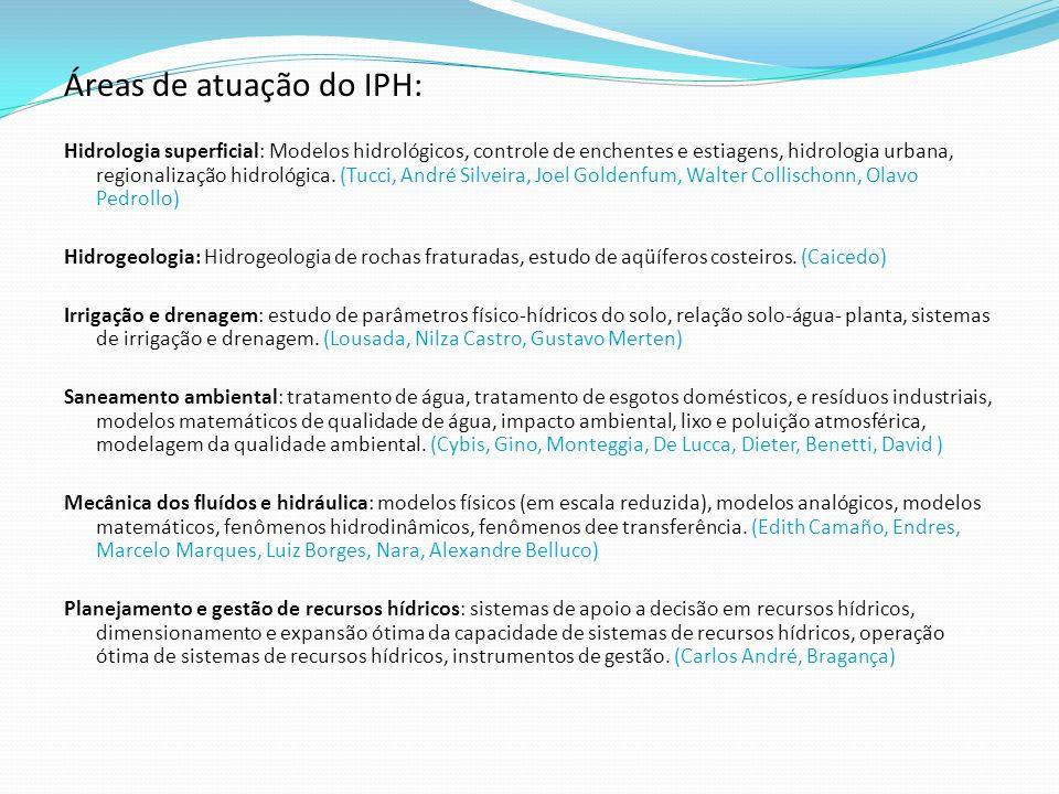 Áreas de atuação do IPH: Hidrologia superficial: Modelos hidrológicos, controle de enchentes e estiagens, hidrologia urbana, regionalização hidrológic