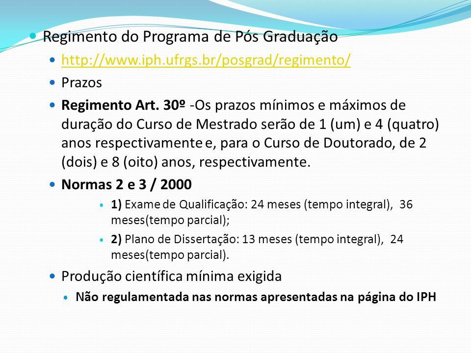 Regimento do Programa de Pós Graduação http://www.iph.ufrgs.br/posgrad/regimento/ Prazos Regimento Art. 30º -Os prazos mínimos e máximos de duração do