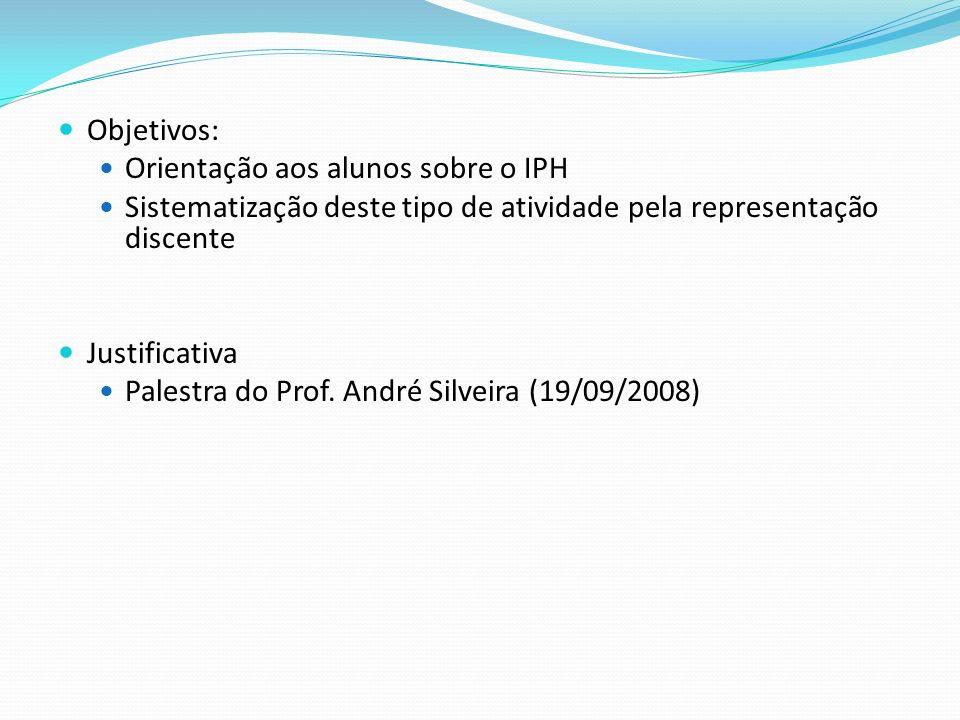 Objetivos: Orientação aos alunos sobre o IPH Sistematização deste tipo de atividade pela representação discente Justificativa Palestra do Prof. André