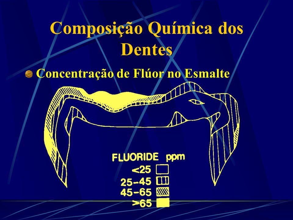 Composição Química dos Dentes Concentração de Flúor no Esmalte Flúor no Esmalte (ppm F) Distância da Superfície ( m) Estudos 600,010,0CURY & USBERTI, 1982 1020,05,0CURY & cols., 1985 1801,02,7ROSALEN & CURY, 1991