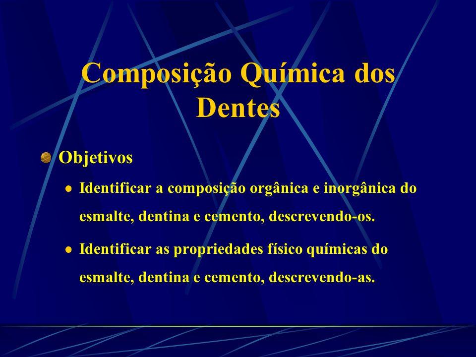 Composição Química e Propriedades dos Tecidos Dentais Lidiany Rodrigues - PG em Cariologia Prof. Dr. Jaime Cury