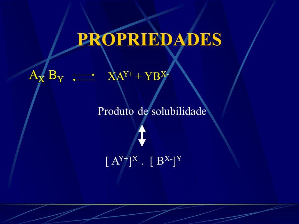 PROPRIEDADES Solubilidade Produto da atividade dos íons- Concentração de íons ativos em solução Produto de solubilidade - É a concentração de íons em solução de um sólido pouco solúvel, quando este entra em equilíbrio de solubilidade.
