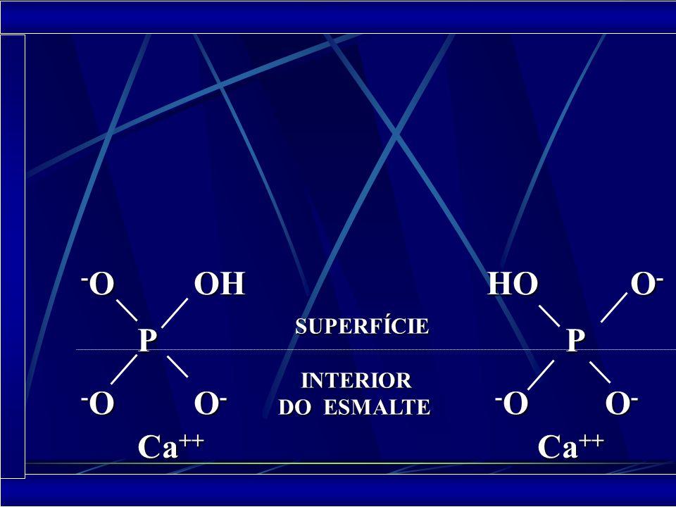 PROPRIEDADES O esmalte tem eletronegatividade o que proporciona a adsorção do Ca da saliva para a formação da camada de hidratação Ca ++ Ca ++ Ca ++ Ca ++ - O OH - O OH - O OH - O OH P P - O O - - O O - - O O - - O O - Interior do esmalte Superfície Camada de Hidratação